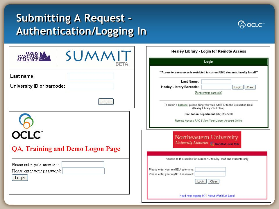 Submitting A Request – Authentication/Logging In