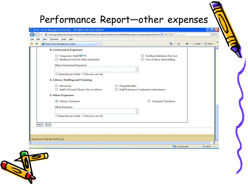 Performance Reportother expenses
