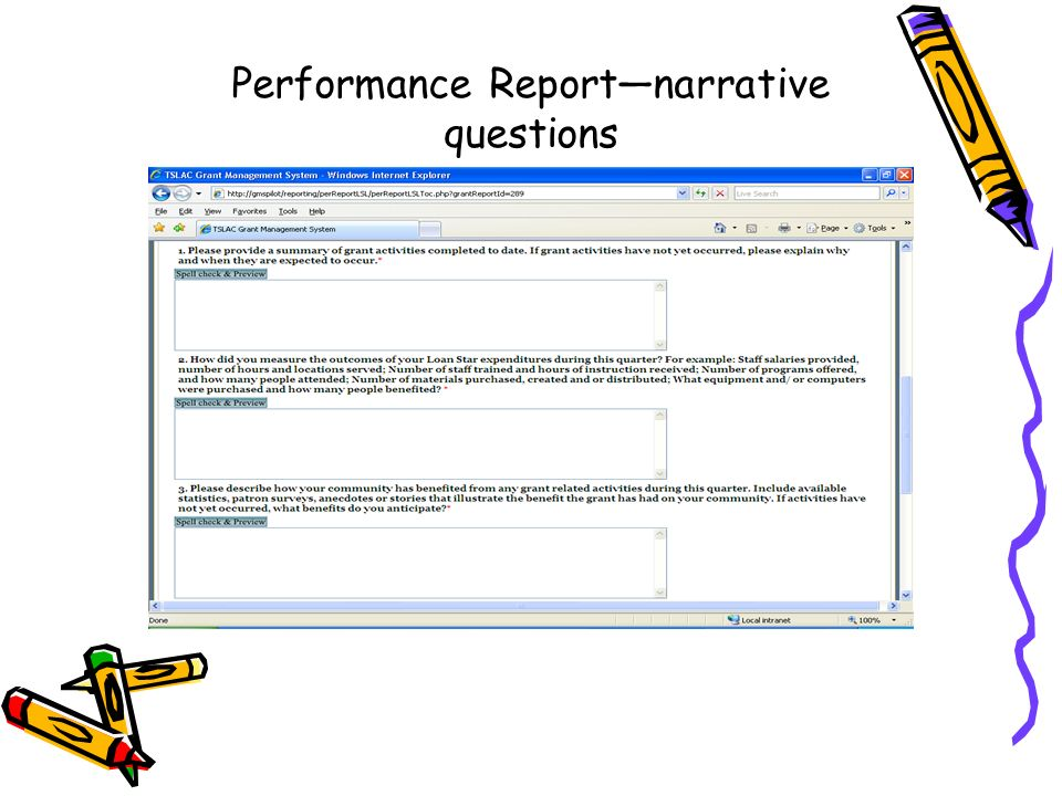 Performance Reportnarrative questions