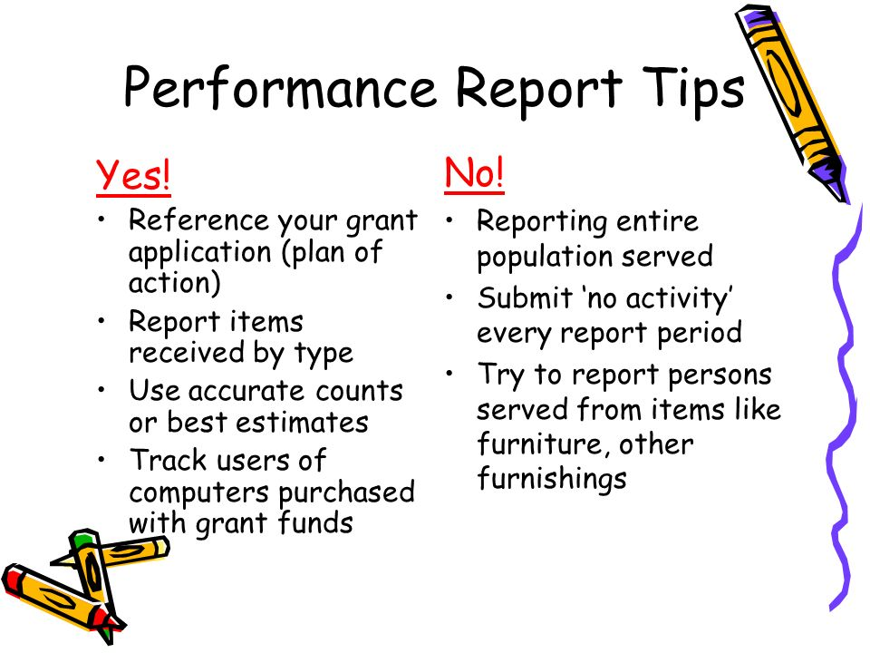Performance Report Tips Yes.