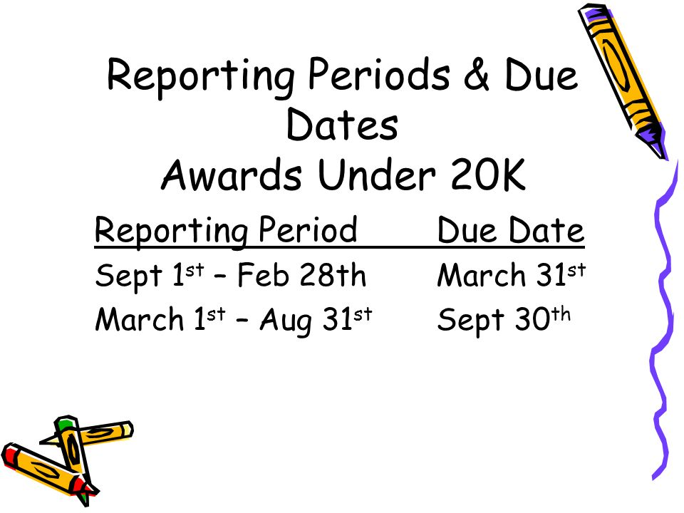 Reporting Periods & Due Dates Awards Under 20K Reporting PeriodDue Date Sept 1 st – Feb 28th March 31 st March 1 st – Aug 31 st Sept 30 th