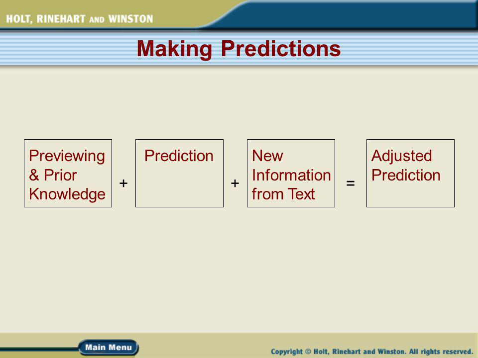 Making Predictions Previewing & Prior Knowledge PredictionNew Information from Text Adjusted Prediction ++=