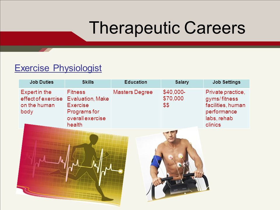 Therapeutic Careers Exercise Physiologist Job DutiesSkillsEducationSalaryJob Settings Expert in the effect of exercise on the human body Fitness Evalu