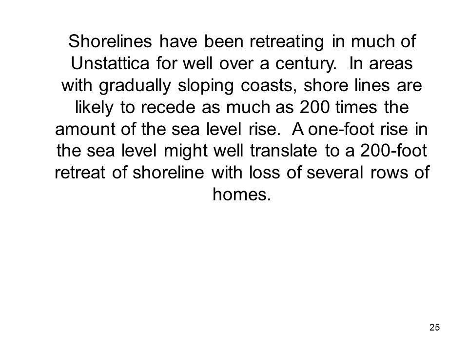 Shorelines have been retreating in much of Unstattica for well over a century.