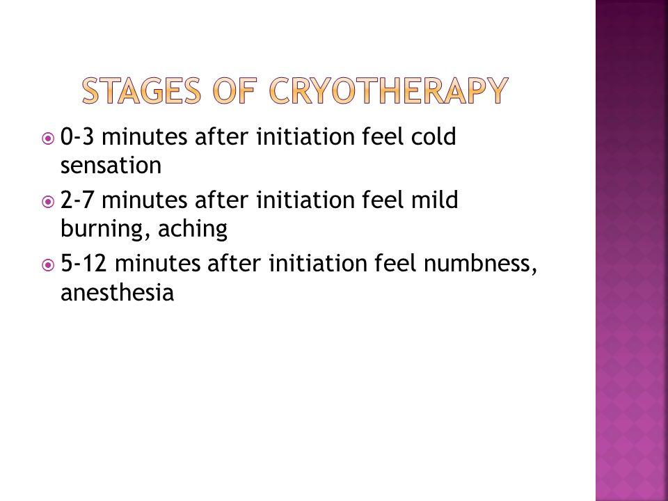 0-3 minutes after initiation feel cold sensation 2-7 minutes after initiation feel mild burning, aching 5-12 minutes after initiation feel numbness, a