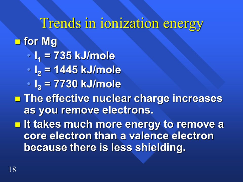 18 Trends in ionization energy n for Mg I 1 = 735 kJ/moleI 1 = 735 kJ/mole I 2 = 1445 kJ/moleI 2 = 1445 kJ/mole I 3 = 7730 kJ/moleI 3 = 7730 kJ/mole n
