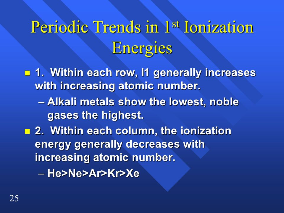 25 Periodic Trends in 1 st Ionization Energies n 1. Within each row, I1 generally increases with increasing atomic number. –Alkali metals show the low