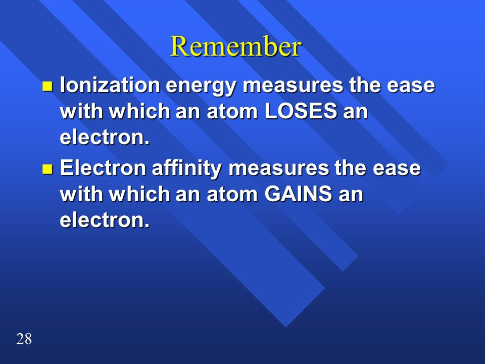 28 Remember n Ionization energy measures the ease with which an atom LOSES an electron. n Electron affinity measures the ease with which an atom GAINS