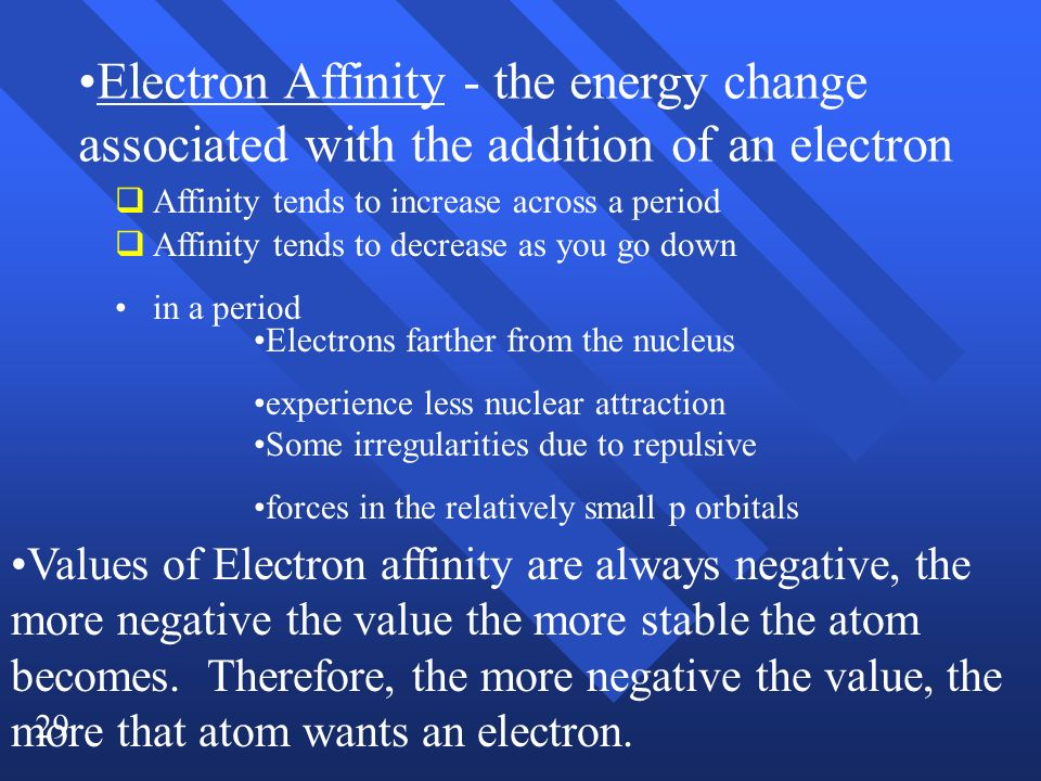 29 Affinity tends to increase across a period Affinity tends to decrease as you go down in a period Electrons farther from the nucleus experience less