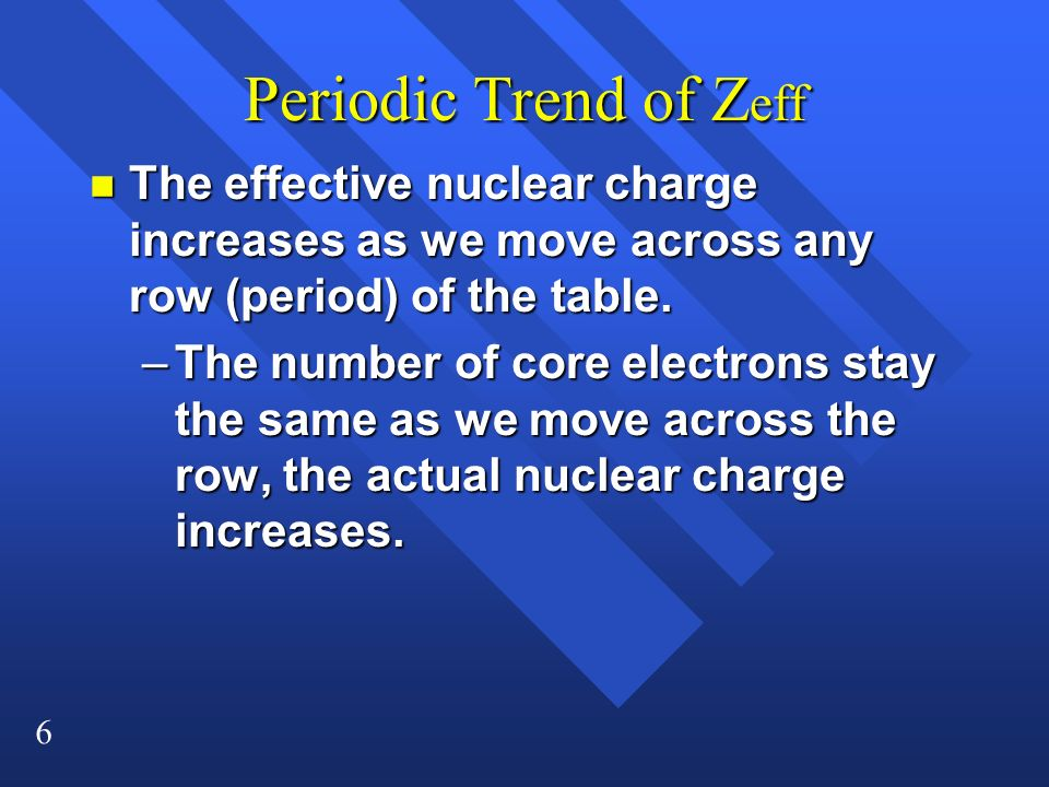 6 Periodic Trend of Z eff n The effective nuclear charge increases as we move across any row (period) of the table. –The number of core electrons stay