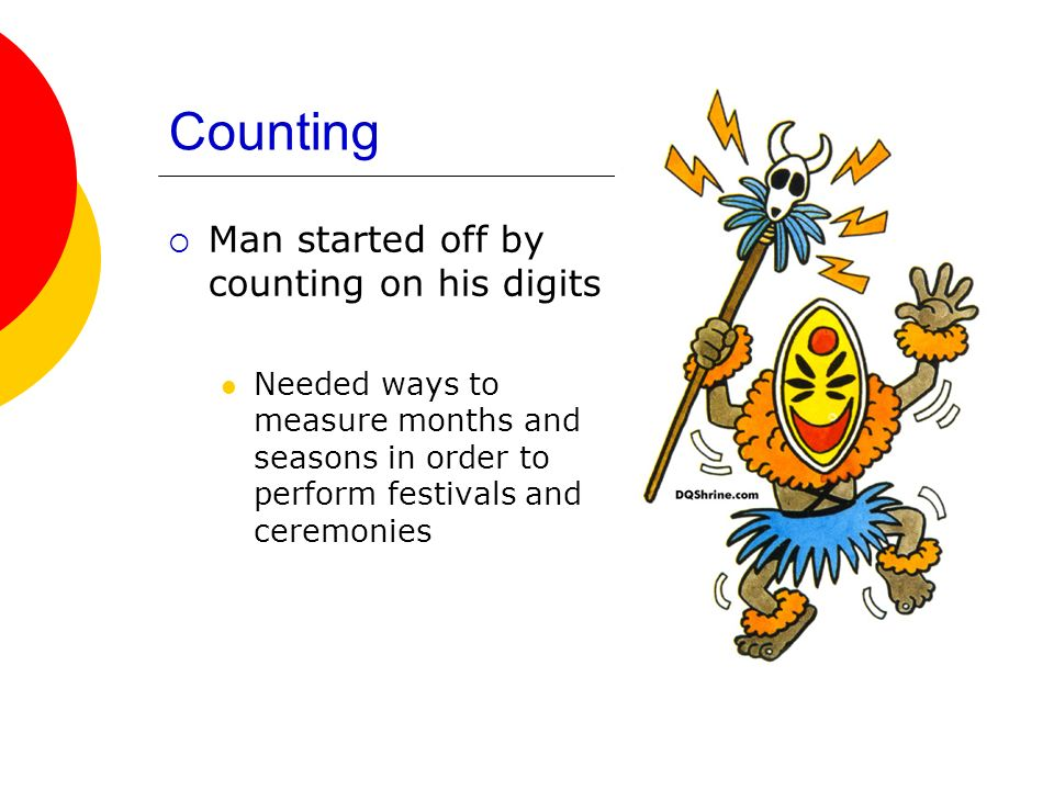 Counting Man started off by counting on his digits Needed ways to measure months and seasons in order to perform festivals and ceremonies