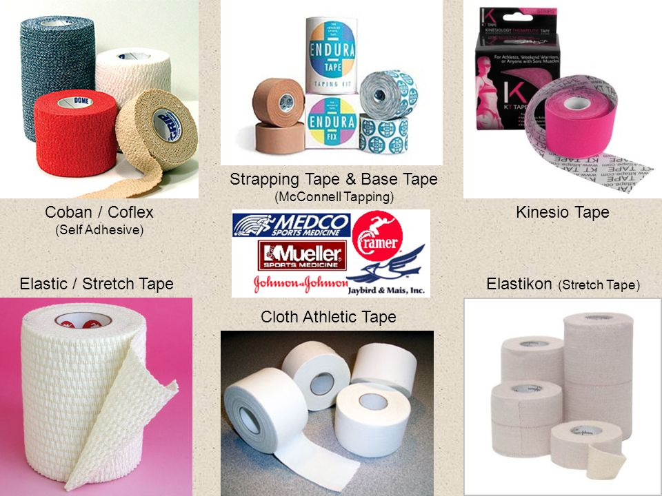 Elastic / Stretch Tape Coban / Coflex (Self Adhesive) Cloth Athletic Tape Elastikon (Stretch Tape) Kinesio Tape Strapping Tape & Base Tape (McConnell