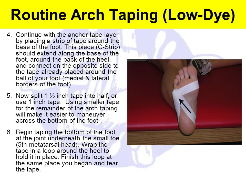 Routine Arch Taping (Low-Dye) 4.Continue with the anchor tape layer by placing a strip of tape around the base of the foot. This piece (C-Strip) shoul