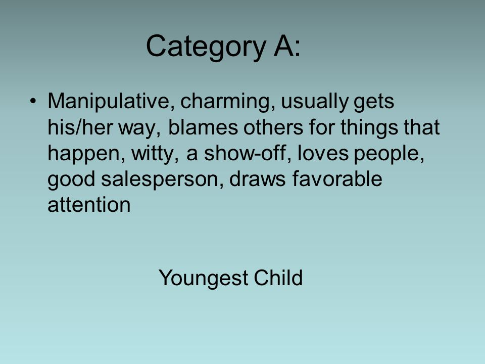 Category A: Manipulative, charming, usually gets his/her way, blames others for things that happen, witty, a show-off, loves people, good salesperson,