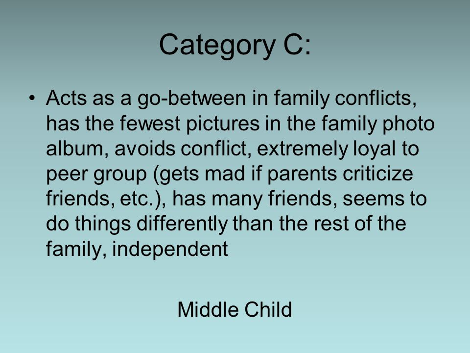 Category C: Acts as a go-between in family conflicts, has the fewest pictures in the family photo album, avoids conflict, extremely loyal to peer grou