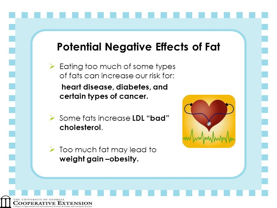 Potential Negative Effects of Fat Eating too much of some types of fats can increase our risk for: heart disease, diabetes, and certain types of cance
