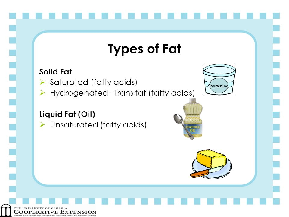 Types of Fat Solid Fat Saturated (fatty acids) Hydrogenated –Trans fat (fatty acids) Liquid Fat (Oil) Unsaturated (fatty acids) Shortening