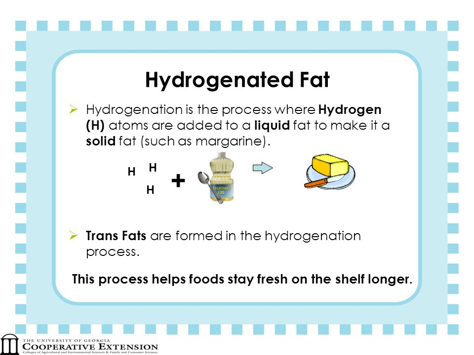 Hydrogenated Fat Hydrogenation is the process where Hydrogen (H) atoms are added to a liquid fat to make it a solid fat (such as margarine). Trans Fat