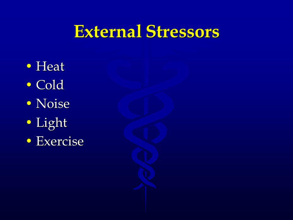 Internal Stressors PainPain TumorsTumors High blood pressureHigh blood pressure Chemical imbalancesChemical imbalances Unpleasant thoughtsUnpleasant thoughts