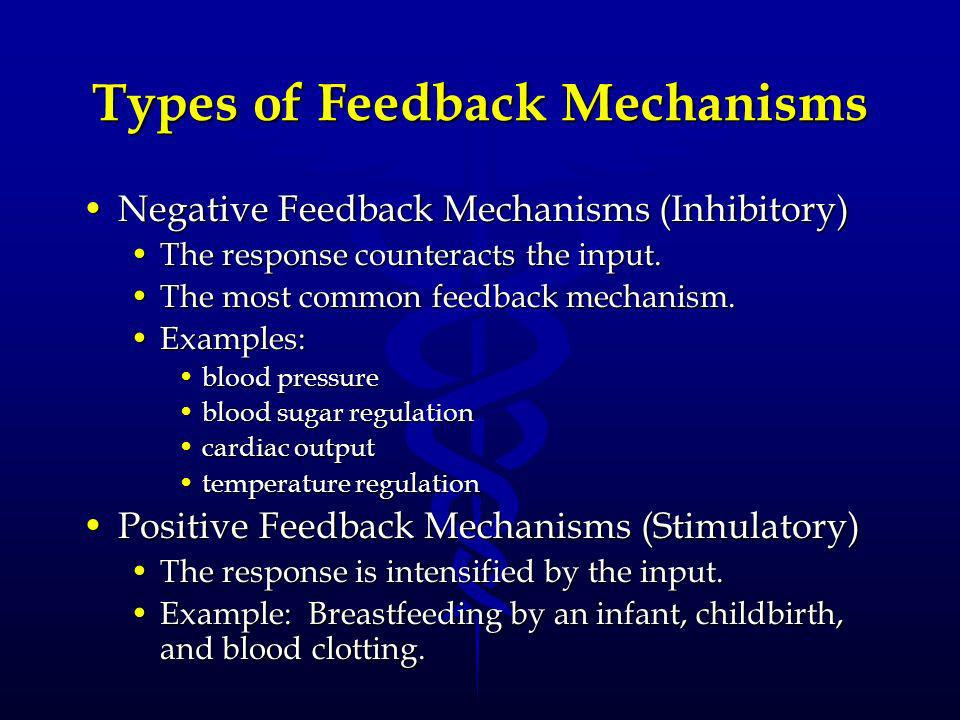 Types of Feedback Mechanisms Negative Feedback Mechanisms (Inhibitory)Negative Feedback Mechanisms (Inhibitory) The response counteracts the input.The