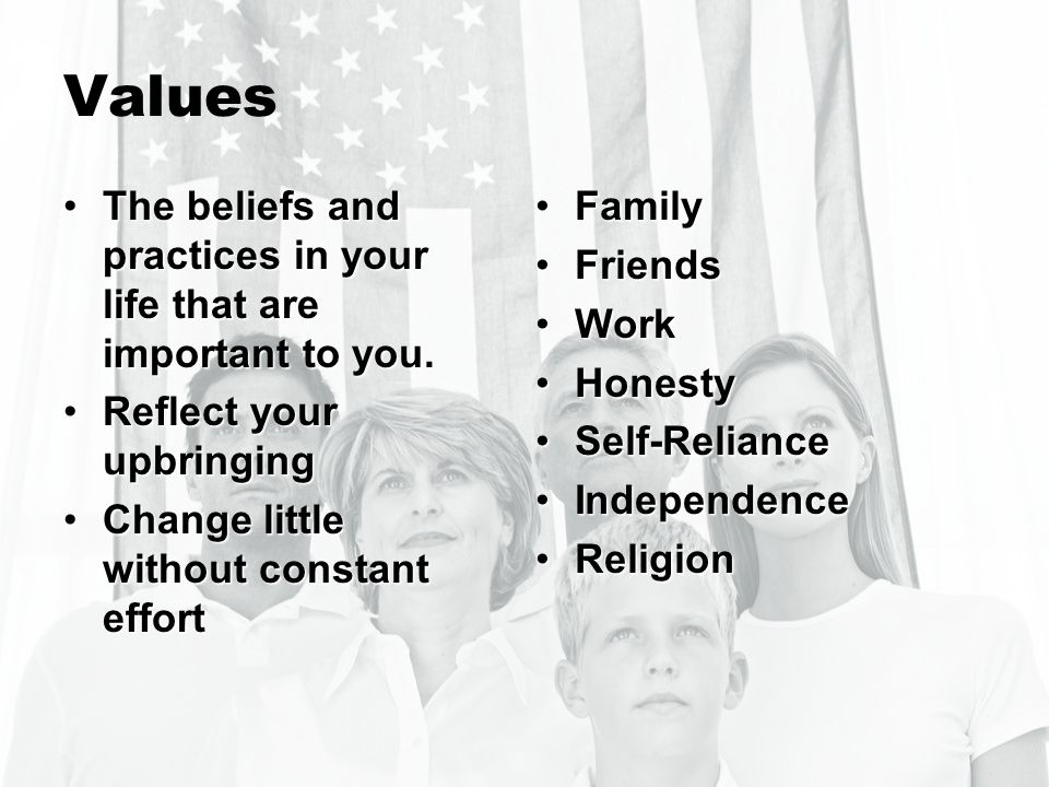 Values The beliefs and practices in your life that are important to you.The beliefs and practices in your life that are important to you. Reflect your