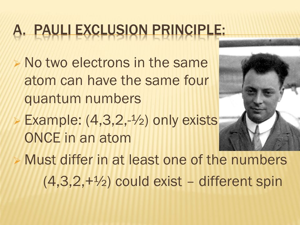 No two electrons in the same atom can have the same four quantum numbers Example: (4,3,2,-½) only exists ONCE in an atom Must differ in at least one o