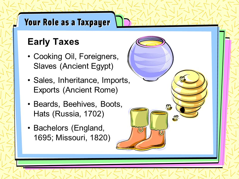 Cooking Oil, Foreigners, Slaves (Ancient Egypt) Early Taxes Sales, Inheritance, Imports, Exports (Ancient Rome) Beards, Beehives, Boots, Hats (Russia,