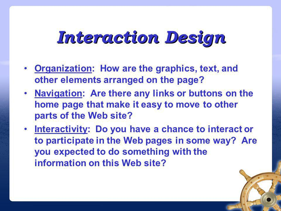 Presentation Design Color scheme: What colors should you use for the background, text, and links on your page.