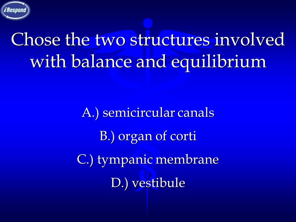 Chose the two structures involved with balance and equilibrium A.) semicircular canals B.) organ of corti C.) tympanic membrane D.) vestibule
