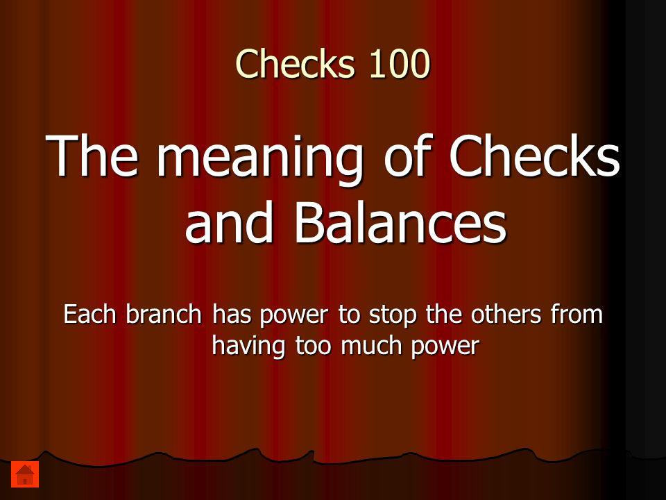 Checks 100 The meaning of Checks and Balances Each branch has power to stop the others from having too much power