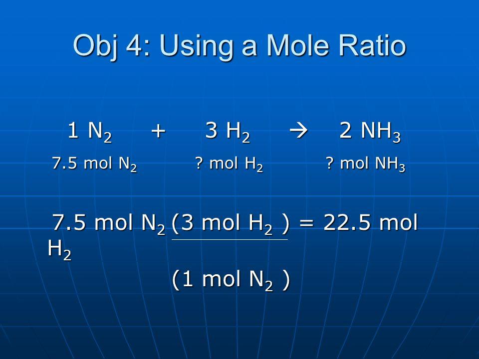 Obj 4: Using a Mole Ratio 1 N 2 + 3 H 2 2 NH 3 1 N 2 + 3 H 2 2 NH 3 7.5 mol N 2 ? mol H 2 ? mol NH 3 7.5 mol N 2 ? mol H 2 ? mol NH 3 7.5 mol N 2 (3 m