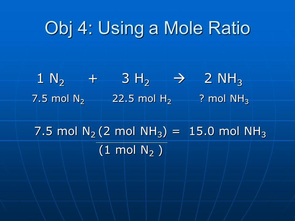 Obj 4: Using a Mole Ratio 1 N 2 + 3 H 2 2 NH 3 1 N 2 + 3 H 2 2 NH 3 7.5 mol N 2 22.5 mol H 2 ? mol NH 3 7.5 mol N 2 22.5 mol H 2 ? mol NH 3 7.5 mol N
