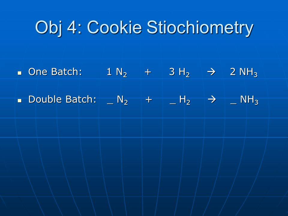 Obj 4: Cookie Stiochiometry One Batch: 1 N 2 + 3 H 2 2 NH 3 One Batch: 1 N 2 + 3 H 2 2 NH 3 Double Batch: _ N 2 + _ H 2 _ NH 3 Double Batch: _ N 2 + _