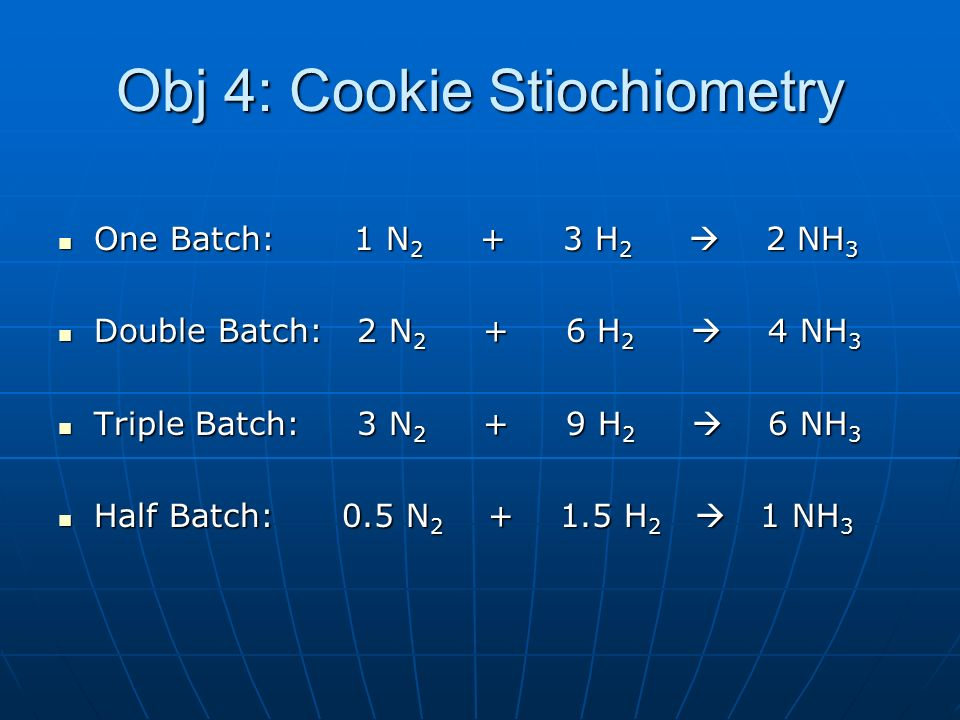 Obj 4: Cookie Stiochiometry One Batch: 1 N 2 + 3 H 2 2 NH 3 One Batch: 1 N 2 + 3 H 2 2 NH 3 Double Batch: 2 N 2 + 6 H 2 4 NH 3 Double Batch: 2 N 2 + 6