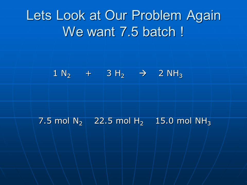 Lets Look at Our Problem Again We want 7.5 batch ! 1 N 2 + 3 H 2 2 NH 3 1 N 2 + 3 H 2 2 NH 3 7.5 mol N 2 22.5 mol H 2 15.0 mol NH 3 7.5 mol N 2 22.5 m