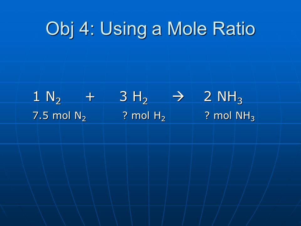 Obj 4: Using a Mole Ratio 1 N 2 + 3 H 2 2 NH 3 1 N 2 + 3 H 2 2 NH 3 7.5 mol N 2 ? mol H 2 ? mol NH 3 7.5 mol N 2 ? mol H 2 ? mol NH 3