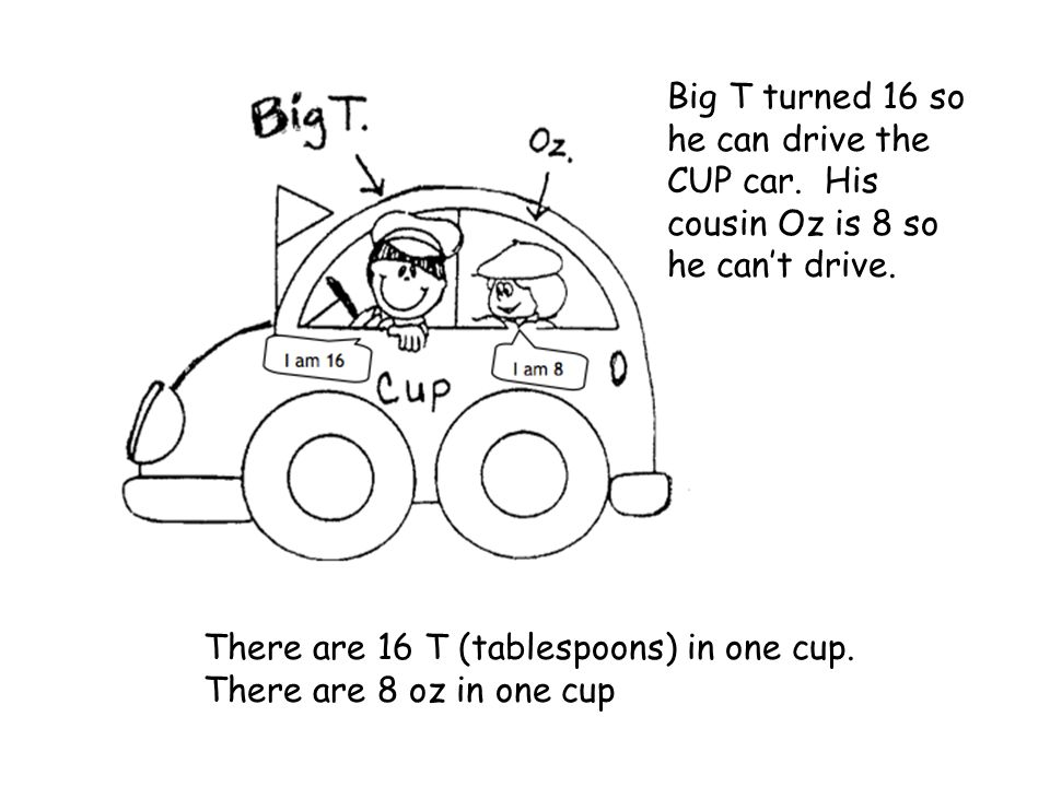 Big T turned 16 so he can drive the CUP car. His cousin Oz is 8 so he cant drive. There are 16 T (tablespoons) in one cup. There are 8 oz in one cup