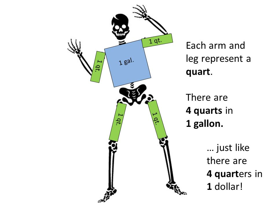 1 gal. 1 qt. Each arm and leg represent a quart. There are 4 quarts in 1 gallon. … just like there are 4 quarters in 1 dollar!