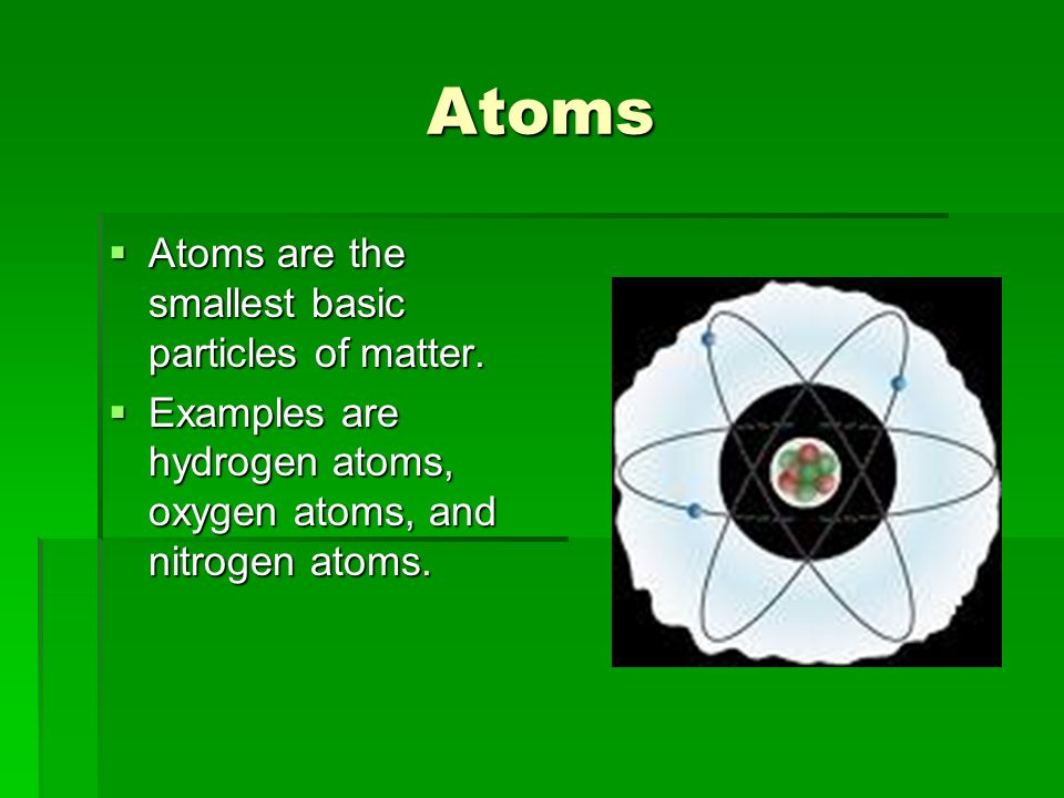 Atoms Atoms are the smallest basic particles of matter. Atoms are the smallest basic particles of matter. Examples are hydrogen atoms, oxygen atoms, a