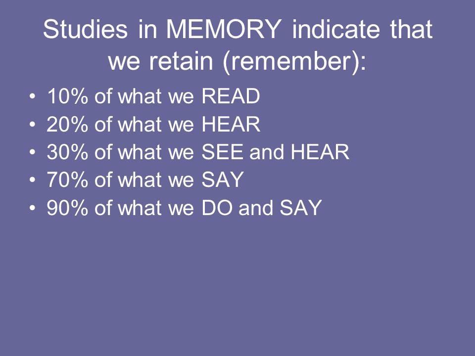 Studies in MEMORY indicate that we retain (remember): 10% of what we READ 20% of what we HEAR 30% of what we SEE and HEAR 70% of what we SAY 90% of what we DO and SAY