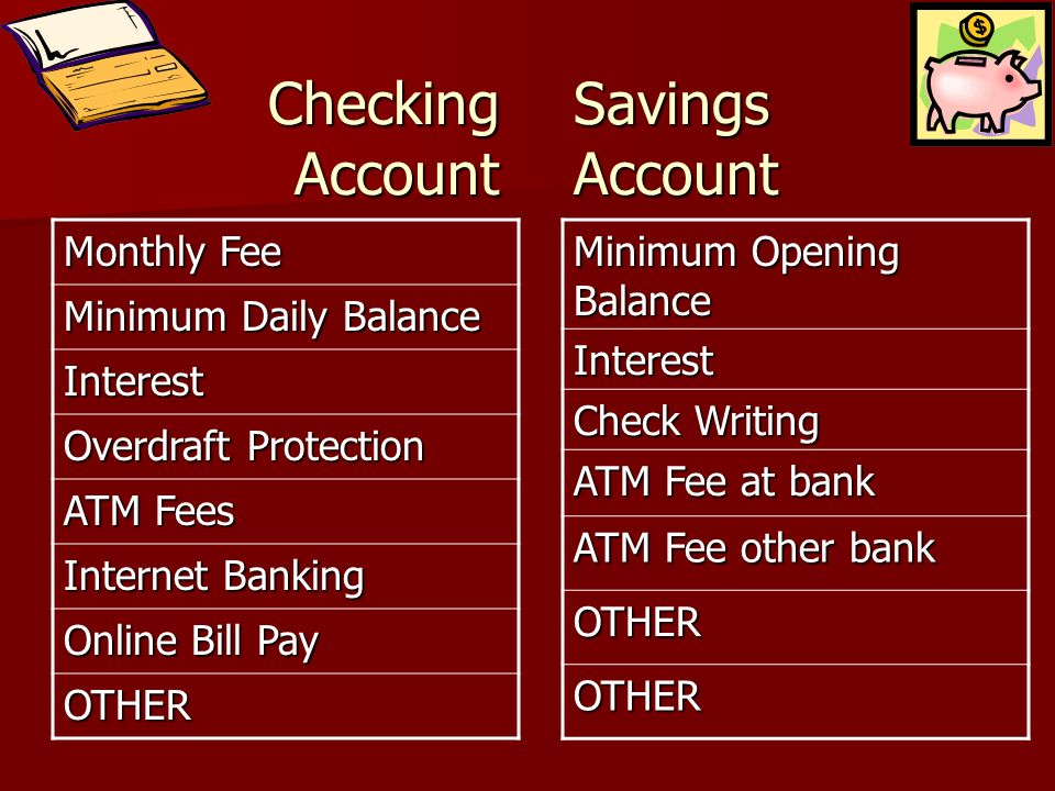 Checking Account Monthly Fee Minimum Daily Balance Interest Overdraft Protection ATM Fees Internet Banking Online Bill Pay OTHER Minimum Opening Balan