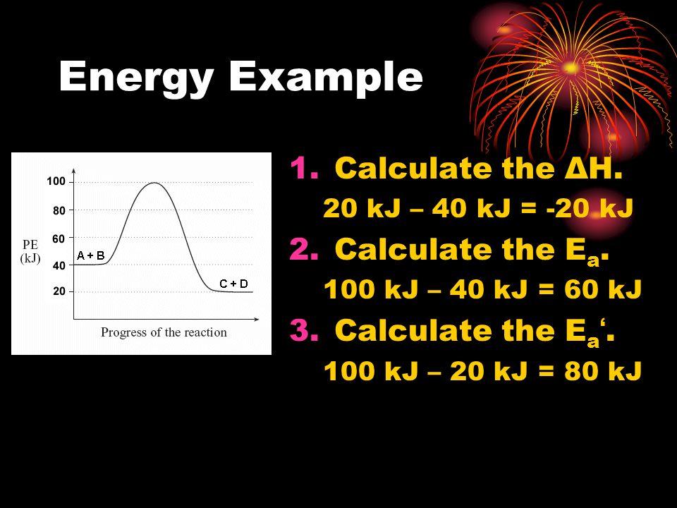 Energy Example 1.Calculate the ΔH. 20 kJ – 40 kJ = -20 kJ 2.Calculate the E a. 100 kJ – 40 kJ = 60 kJ 3.Calculate the E a. 100 kJ – 20 kJ = 80 kJ