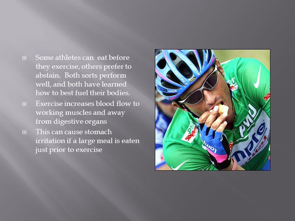 Some athletes can eat before they exercise, others prefer to abstain.