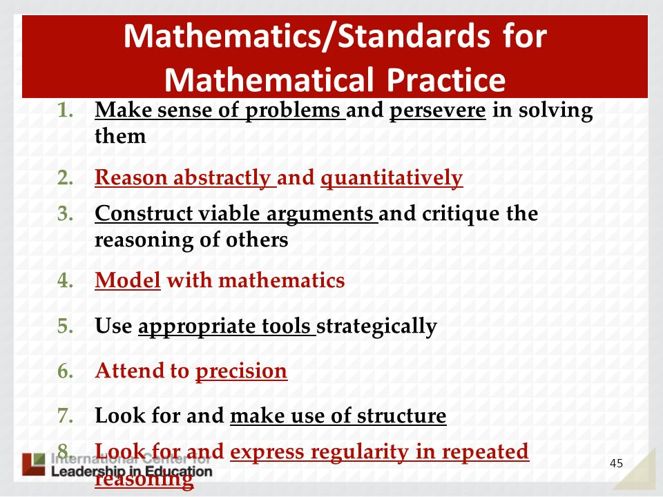 Mathematics/Standards for Mathematical Practice 1.Make sense of problems and persevere in solving them 2.Reason abstractly and quantitatively 3.Constr