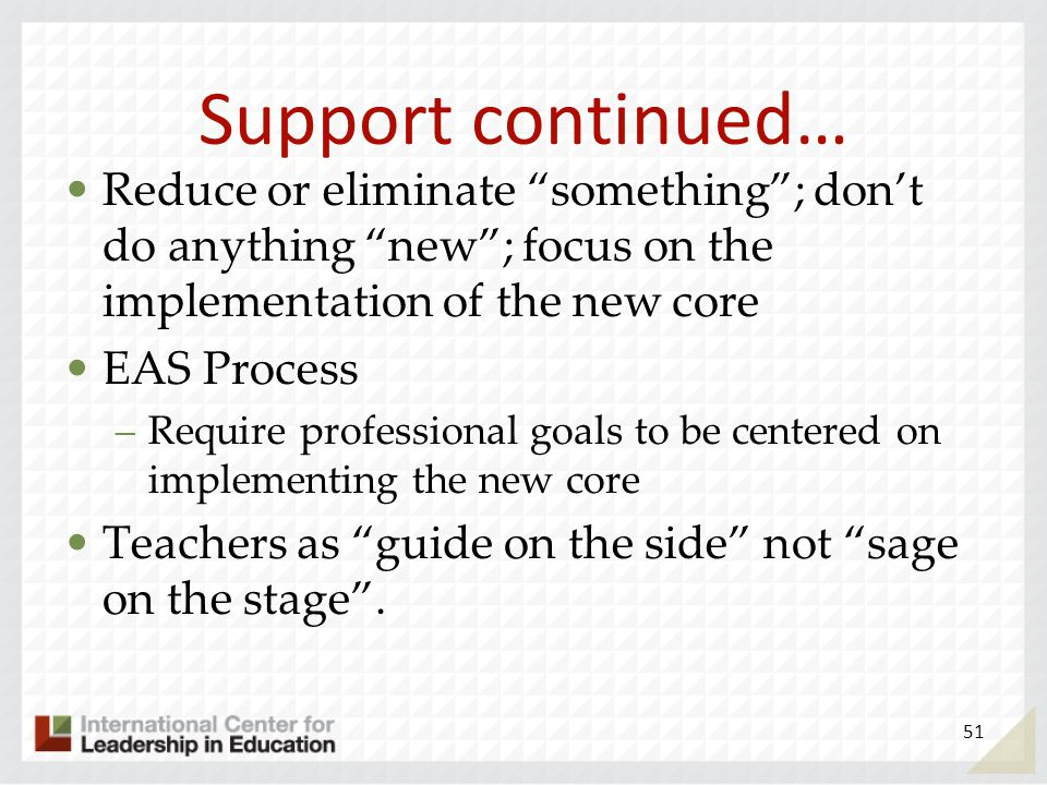 Support continued… Reduce or eliminate something; dont do anything new; focus on the implementation of the new core EAS Process –Require professional