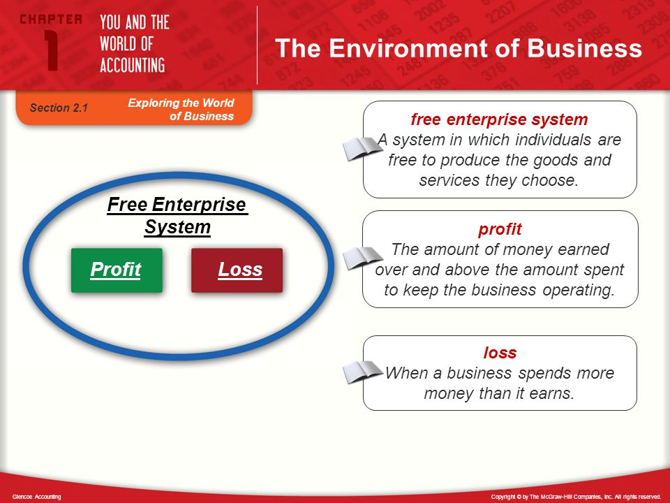 Copyright © by The McGraw-Hill Companies, Inc. All rights reserved.Glencoe Accounting Exploring the World of Business The Environment of Business Free