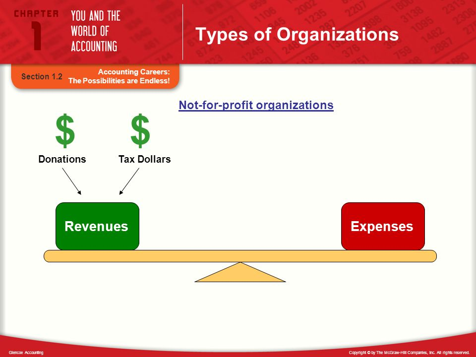Copyright © by The McGraw-Hill Companies, Inc. All rights reserved.Glencoe Accounting Types of Organizations Section 1.2 RevenuesExpenses $$ Donations