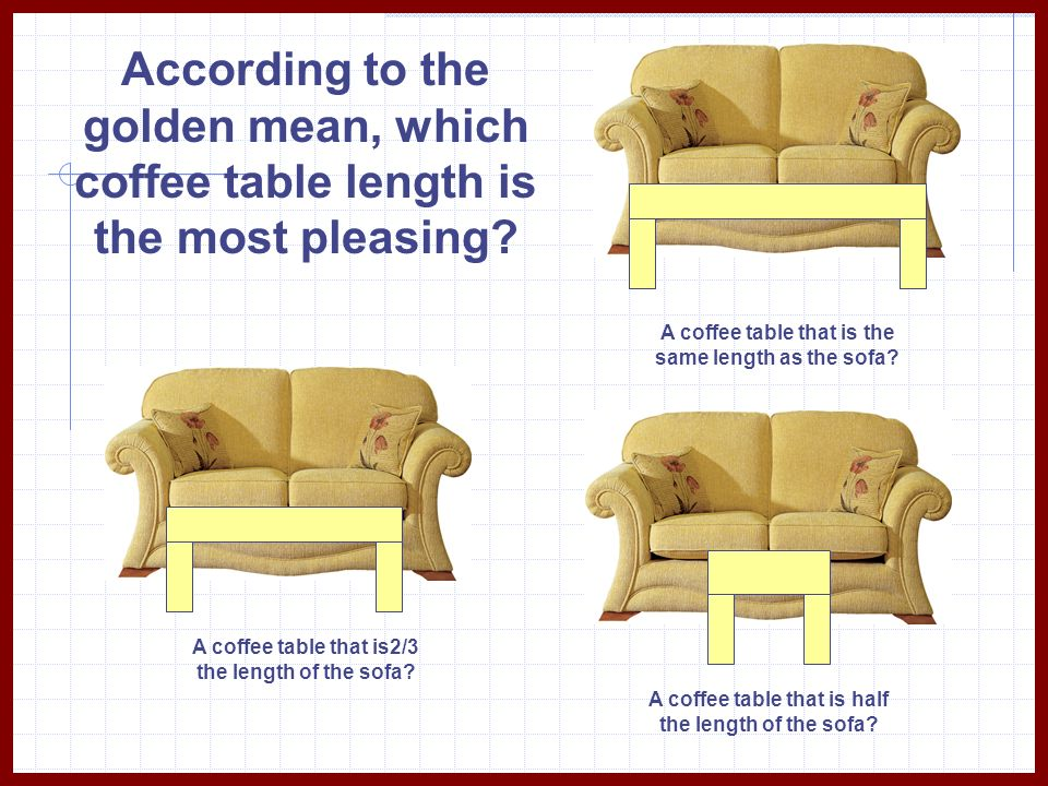 According to the golden mean, which coffee table length is the most pleasing? A coffee table that is the same length as the sofa? A coffee table that
