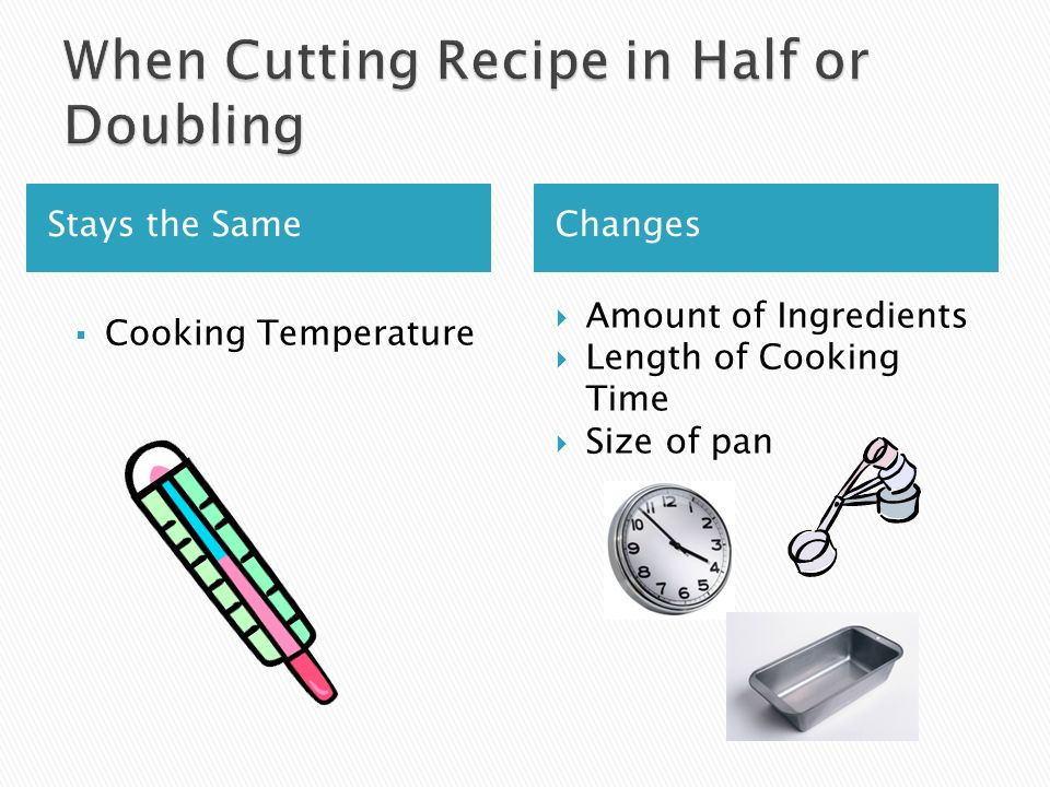 Stays the Same Changes Cooking Temperature Amount of Ingredients Length of Cooking Time Size of pan