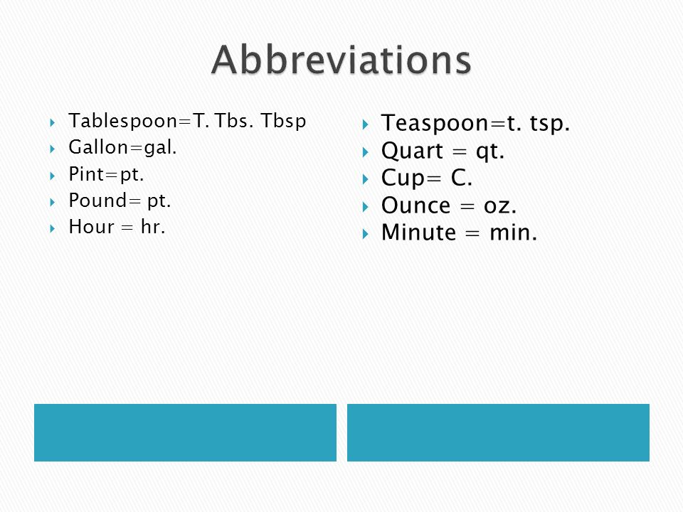 Tablespoon=T. Tbs. Tbsp Gallon=gal. Pint=pt. Pound= pt.